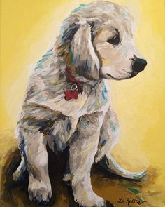 Golden retriever art print from original painting by HippieHoundUSA on Etsy