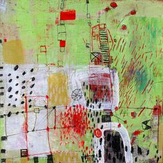 "Barbara Gilhooly  'chaos Implied'  acrylic, ink on birch  10 x 10""  www.barbaragilhooly.com  chaos-implied-gilhooly-lo by gilhooly studio, via Flickr"