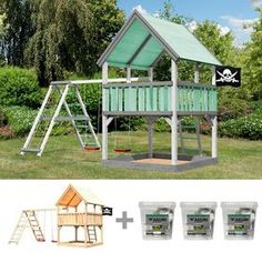 plum Holz Lookout Turm, Altersempfehlung: ab 3 Jahren. online kaufen | OTTO Cubby House Kits, Kit Homes, Cubbies, Products, Climbing Wall, Sandbox, Gable Roof, Types Of Wood, Color Blue