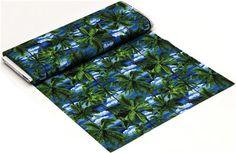 blue tropical palm trees fabric Robert Kaufman 3