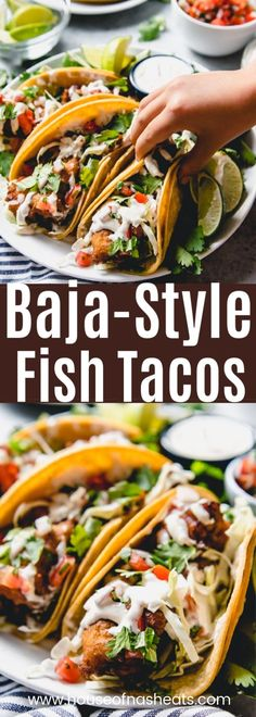 These Baja Fish Tacos are loaded with crispy fried fish, crunchy cabbage, pico de gallo, and a creamy fish taco sauce with plenty of lime juice squeezed over the top. All wrapped up in corn tortillas… Baja Fish Taco Recipe, California Fish Tacos Recipe, California Burrito Recipe San Diego, Crunchy Taco Recipe, Fish Taco Recipes, Toco Recipes, Fish Taco Toppings, Corn Tortilla Recipes, Best Fish Recipes