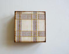 Rustic Art Block l Modern Plaid Gray Yellow l 5x5 by redtilestudio