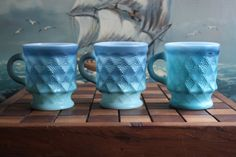 Set of 3 Fire-King Blue Kimberly Cups. $16.00, via Etsy.