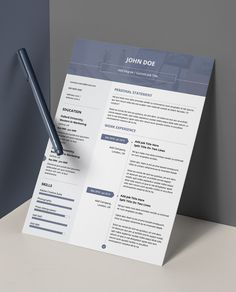 Get this minimalist resume template in double page amendable PDF! Professional and modern design. Easy to use and edit in PDF format!