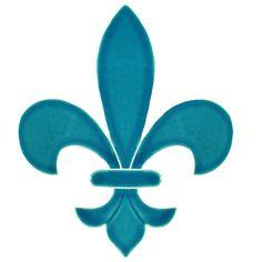 """Fleur de Lis Aqua 6"""""""