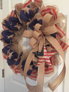 Patriotic wreath veterans day wreath americana by roeswreaths of july wreaths, holiday wreaths, Burlap Crafts, Wreath Crafts, Diy Wreath, Wreath Ideas, Burlap Projects, Patriotic Wreath, Patriotic Crafts, July Crafts, Holiday Wreaths