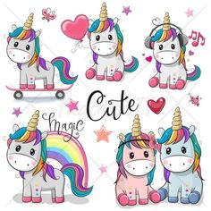 Illustration about Set of Cute Cartoon Unicorns isolated on a white background. Illustration of cartoon, happy, character - 113829957