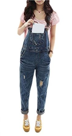 2361c552d18 Nagoo Womens Classic Ripped Hole Denim Jeans Bib Overall Jumpsuit XL Blue  -- Check this awesome product by going to the link at the image.