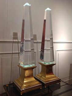 Pair of Obelisk Lucite Lamps by Jansen | From a unique collection of antique and modern table lamps at https://www.1stdibs.com/furniture/lighting/table-lamps/