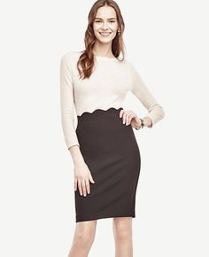 Thumbnail Image of Color Swatch 6600 Image of Petite Scalloped Waist Pencil Skirt