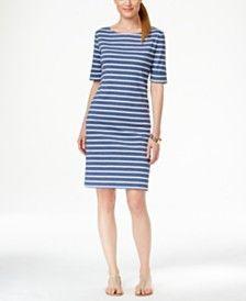 Karen Scott Petite Striped Short-Sleeve Dress, Only at Macy's