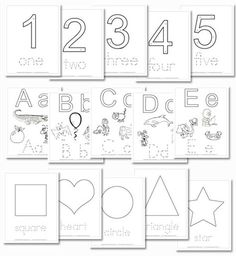 Free Printable Preschool Daily Learning Notebook... the letters, numbers and shapes could be printed and used as playdough mats!