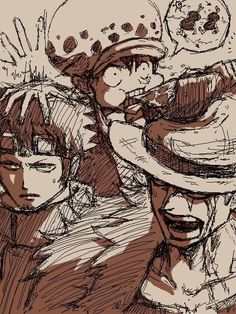 Eustass Kid, Trafalgar Law and Monkey D. Luffy
