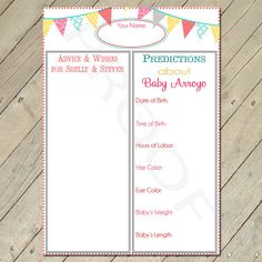 These were one of my favorite things from my shower- I love reading them!  Printable Baby Shower Activity - Baby Predictions by ThePinkCoconut, $5.00