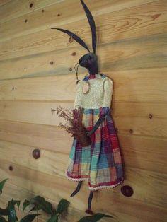 Primitive handmade bunny doll.
