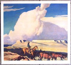 """""""Open Range"""" by Maynard Dixon, oil on canvas, private collection. from Western Art Perspectives: April 2015 Western Landscape, Landscape Art, Landscape Paintings, Pierre Auguste Renoir, Native American Art, American Artists, Imagen Natural, Maynard Dixon, Southwestern Art"""