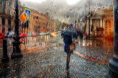 Ruso fotografía calles lluviosas, parecen pinturas de óleo