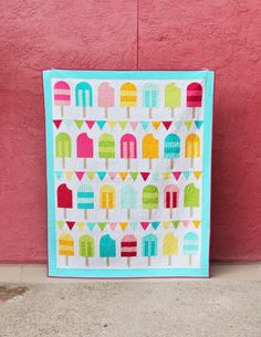 Popsicle Parade Quilt Pattern by HelloMellyDesigns on Etsy Stripe Quilt Pattern, Striped Quilt, Pop Sicle, Charm Square Quilt, Picnic Quilt, Summer Quilts, Foundation Paper Piecing, Quilt Patterns Free, Block Patterns