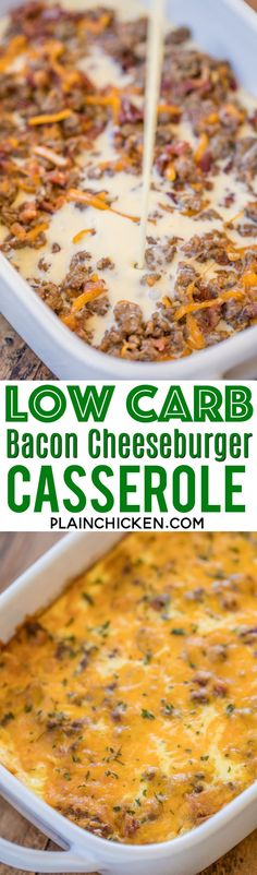 Low Carb Bacon Cheeseburger Casserole - low on carbs but high on taste! SO good! Everyone cleaned their plate and asked for seconds!! Ground beef, bacon, ketchup, mustard, onion, Ranch, cheddar cheese, eggs, milk and sour cream. It is like a quiche withou