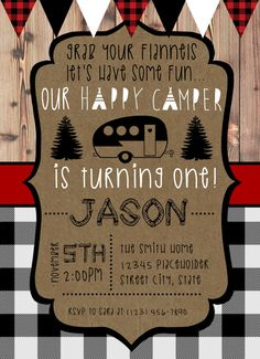 Happy Camper Invite Camping Birthday Printable by CreativeKittle First Birthday Camping Theme, Boys First Birthday Party Ideas, One Year Birthday, Birthday Themes For Boys, 1st Boy Birthday, Boy Birthday Parties, Birthday Party Decorations, Birthday Party Invitations, Happy Campers