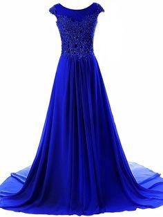 JAEDEN Women's Cap Sleeves Long Chiffon Lace Evening Gown Prom Dresses Royal Blue US8