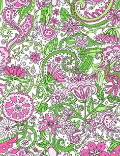 Hand Drawn Pink and Green Flowers Digital Paper   $35