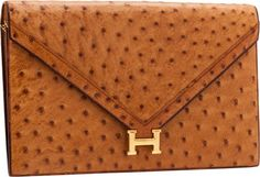 Hermès Cognac Ostrich Lydie Clutch Bag with Gold Hardware
