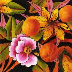 Magical Colors, Still Life Fruit and Floral Painting by Marina Petro, painting by artist Marina Petro