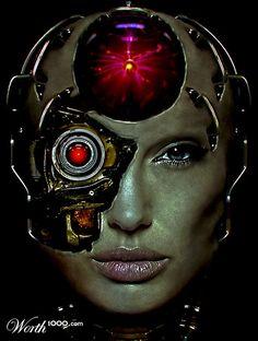 Angelina Joile, Cyborg, futuristic art, cyber girl, android, cyberpunk, robot girl
