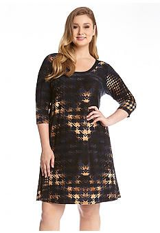 Karen Kane Plus Size Multicolor Houndstooth Print Dress #Karen_Kane #Plus #Size #Multicolor #Navy #Blue #Brown #Houndstooth #Print #Dress #Plus_Size #Fall #Fashion #Belk