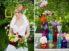 love the colored vases, with babysbreath in in them to have colors with out too much loud color..