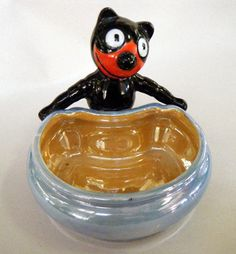 RARE Vintage FELIX THE CAT HAND-PAINTED PORCELAIN LUSTERWARE BOWL MADE IN JAPAN