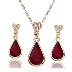 Yoursfs Tear Drop of the Heart 18k Rose Gold Plated Garnet Crystal Pendent Necklace and Earrings Set