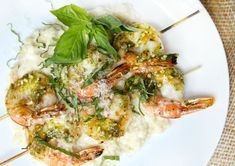 Pesto Shrimp Skewers with Cauliflower MashDelish