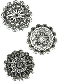 mini zentangle mandalas  • ❃ • ❋ • ❁ • tanglebucket • ✿ • ✽ • ❀ • Zentangle Drawings, Doodles Zentangles, Zentangle Patterns, Mandala Pattern, Mandala Design, Tangle Doodle, Tangle Art, Zen Doodle, Doodle Art
