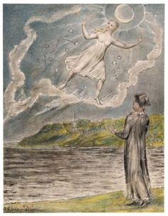 The Wandering Moon (1816-20) by English artist William Blake (1757-1827). This illustration was created for Milton's melancholic verse L'Allegro and Il Penseroso. Blake was deeply influenced by John Milton (1608-74).