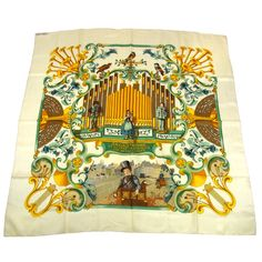 HERMES Carre Scarf Handkerchief White VintageJacquard Silk, France,  Treble Clef design