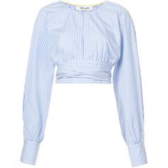 Dvf Diane Von Furstenberg cinched waist cropped blouse (3 755 SEK) ❤ liked on Polyvore featuring tops, blouses, blue, white crop blouse, cotton crop top, white long sleeve blouse, white cotton tops and white cotton blouse