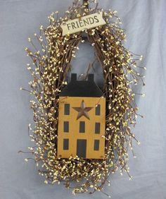 Friends Salt Box House Oval Wreath