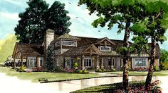 Home Plan HOMEPW77008 - 4125 Square Foot, 4 Bedroom 4 Bathroom Ranch Home with 3 Garage Bays | Homeplans.com