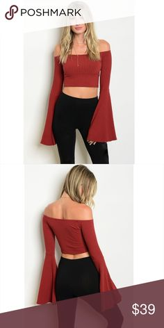 *NEW* Rust Off Shoulder Bell Sleeve Crop Top Rust color ribbed off shoulder bell sleeve crop top  Made in USA  95% Polyester 5% Spandex Tops Crop Tops