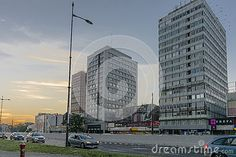 Pilsudki avenue and Modern buildings with with apartments and offices in Łódź…