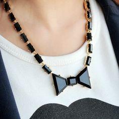 Gemstone Bow Necklace