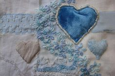 my heart is blue. Soft Heart, I Love Heart, Fabric Patch, Fabric Art, Stitch Witchery, Fibre And Fabric, Textiles, Art Textile, Love Blue