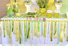 love the tablecloth embellishing!