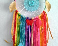 Made To Order Bright & Colorful Rainbow Doily Dreamcatcher. Gorgeous and Glowing Sparkly Dreamcatcher.