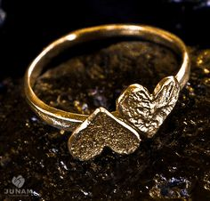 Gold+Hearts+Ring+gold+plated+valentines+gift+2+by+JunamJewelry,+$54.00
