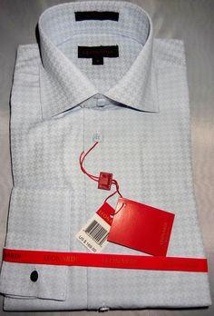 Leonardi Light Blue Houndstooth French Cuff Shirt