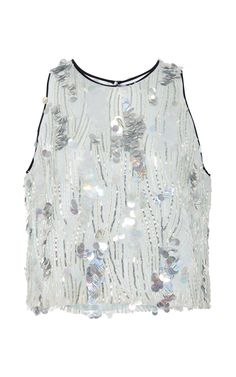 Opalescent Paillette Embroidered Tulle Top by Monique Lhuillier