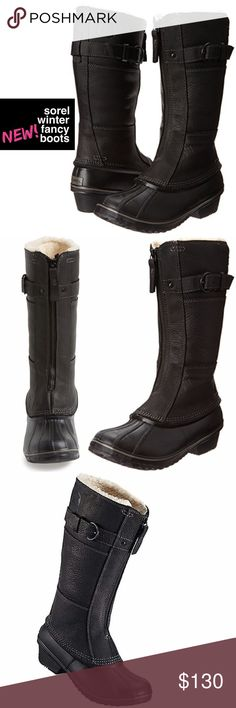 """NEW Sorel Winter Fancy Snow Boot Face the winter weather in fearless fashion with Sorel's slimmest, most lightweight waterproof snow boot yet. Features include a full-grain leather upper, seam-sealing, cozy faux-fur lining and a tough lug sole. • Aprx. 1"""" heel  • 13"""" boot shaft; 15"""" calf circumference. • Front-zip closure. • 100g insulation. • Leather and rubber upper/textile faux-fur lining/rubber sole. • New but boots have some scuffs on the rubber from the boots rubbing together (see…"""